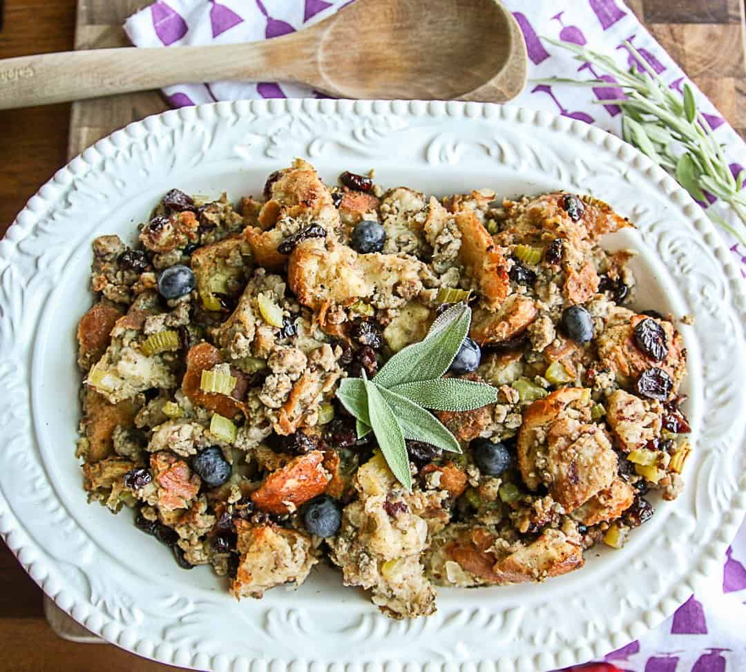 Blueberry Sourdough Turkey Sausage Stuffing | The Food Blog