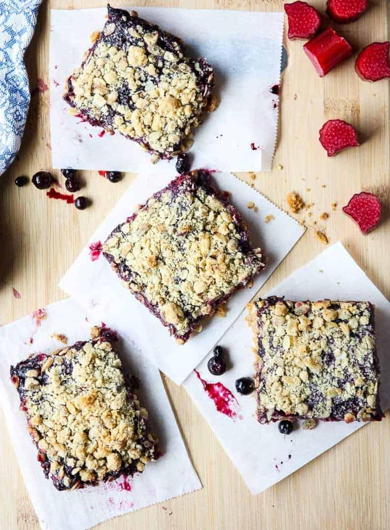 Easy Rhubarb Blueberry Oatmeal Bars