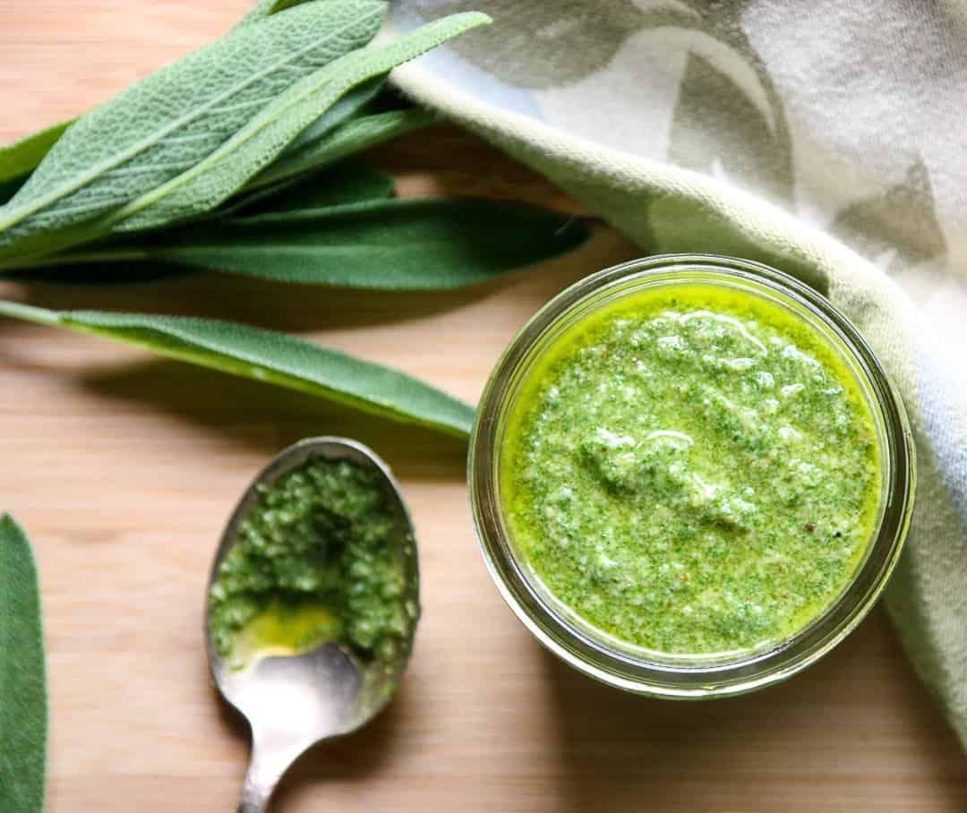 Fresh Homemade Walnut Sage Pesto | The Food Blog